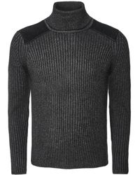 Schott Nyc Ribbed Roll Neck Pl Yank4 Sweater - Grey