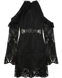 Self-Portrait Crochet Cold Shoulder Dress - Noir