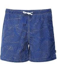 Hackett Indigo Dyed Palm Print Swim Shorts - Bleu