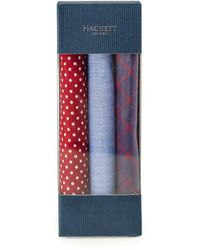 Hackett Cotton Patterned Pocket Square Three Pack - Rouge