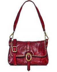 Campomaggi Studded Leather Shoulder Bag - Rouge