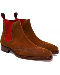 Jeffery West Suede Dexter Spite Chelsea Boots - Rouge