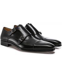 Magnanni Leather Double Monk Siros Shoes - Noir