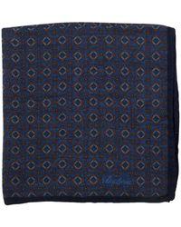 Stenstroms Wool & Silk Blend Patterned Pocket Square - Blue