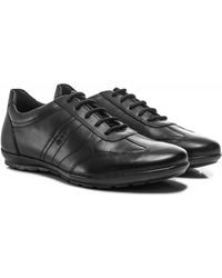 Geox Leather Symbol Trainers - Noir