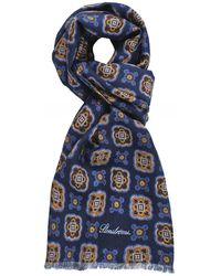Stenstroms Wool Paisley Scarf - Blue