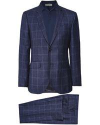 Hackett Wool Puppytooth Overcheck Suit - Blue