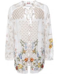 Johnny Was Luca Floral Blouse - Blanc