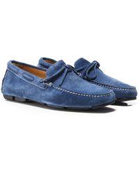 Joss Suede Savana Driving Shoes - Bleu