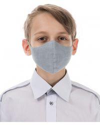 Grizas Children's Pack of 3 Plain Linen Protective Face Masks - Gris