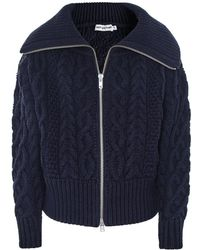 Self-Portrait Cropped Cable Knit Cardigan - Blue