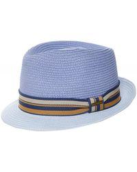 Stetson Toyo Straw Trilby Hat - Bleu