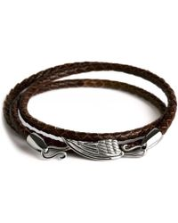 Simon Carter Leather Wing Wrap Bracelet - Brown