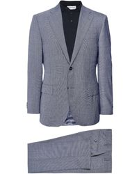 Corneliani Virgin Wool Micro Houndstooth Suit - Bleu
