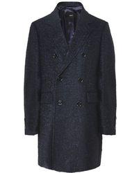 BOSS by Hugo Boss Wool Blend Darvin4 Double Breasted Coat - Bleu