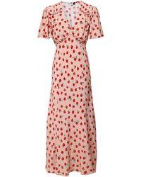 RIXO London Flutter Sleeve Midi Bessie Dress - Red
