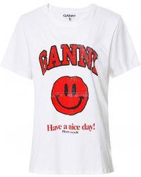 Ganni Basic Cotton Jersey Smiley T-shirt - White