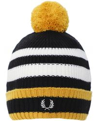 Fred Perry Wool Blend Chunky Tipped Beanie C7159 774 - Noir