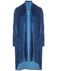 Grizas Ribbed Velvet Draped Jacket - Blue