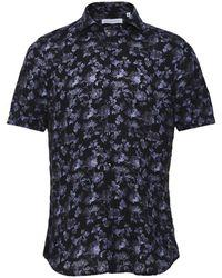 Baldessarini Linen Floral Short Sleeve Keith Shirt - Bleu