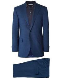 Corneliani Virgin Wool Micro Houndstooth Suit - Blue