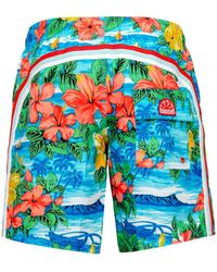 Sundek Mid-length Hawaiian Swim Shorts - Blue