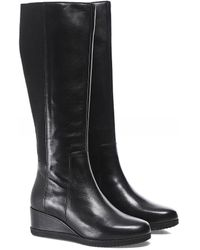 Geox Anylla Leather Wedge Boots - Noir