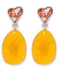 Uzurii Stone Drop Heart Earrings - Jaune