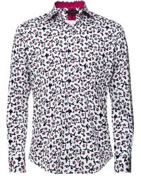 Guide London Slim Fit Floral Shirt - Blanc