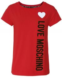Love Moschino Heart Logo T-Shirt - Rouge