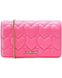 Love Moschino Quilted Heart Crossbody Bag - Pink