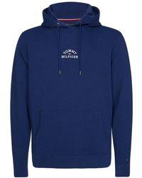 Tommy Hilfiger Organic Cotton Embroidered Logo Hoodie - Bleu