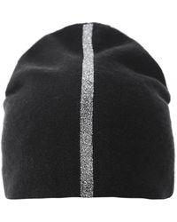 Warm-me Simplex Metallic Silver Stripe Cashmere Beanie - Noir