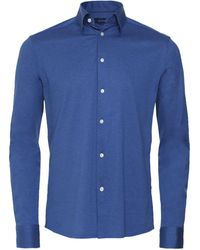 Eton Slim Fit Pique Shirt - Bleu