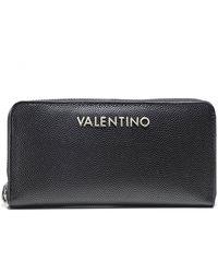 Valentino By Mario Valentino Divina Pebbled Zip Around Wallet - Noir