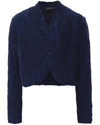 Grizas Linen & Silk Cropped Jacket - Blue