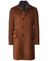 Corneliani Virgin Wool Zip-Insert Overcoat - Marron