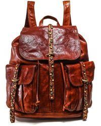 Campomaggi Embellished Leather Backpack - Red