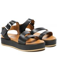 Inuovo Leather Flatform Sandals - Noir
