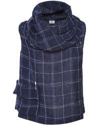 Crea Concept - Linen Blend Checked Cowl Neck Vest Top - Lyst