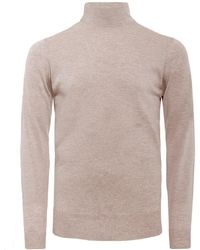 John Smedley Standard Fit Merino Wool Roll Neck Cherwell Sweater - Natural