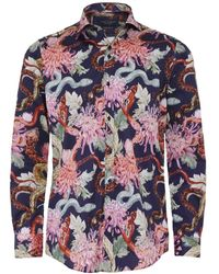 Guide London - Slim Fit Floral Snake Shirt - Lyst