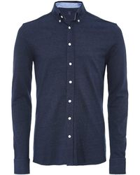 Hackett Slim Fit Indigo Dyed Pique Shirt - Bleu
