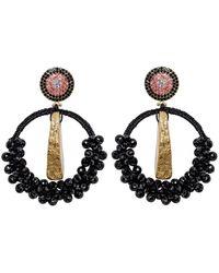 Uzurii Precious Hoop Earrings - Noir