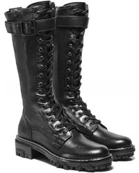Rag & Bone Shiloh Tall Leather Combat Boots - Noir