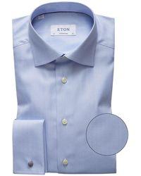 Eton of Sweden Contemporary Fit Herringbone Shirt - Azul