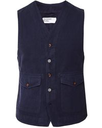 Universal Works Linen Blend Field Waistcoat - Blue