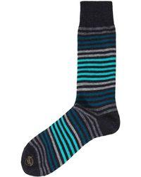 Effio - Wool Blend Royal Stripe Socks - Lyst