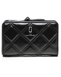 Marc Jacobs The Quilted Softshot Compact Leather Wallet - Noir