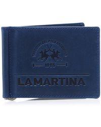 La Martina Leather Note Holder Ettore Wallet - Blue